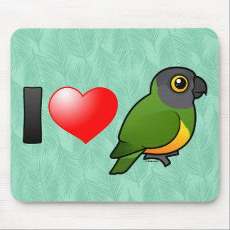 I Liebe-Senegal-Papageien Mousepads