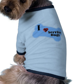 I Liebe-Service-Hunde - blauer Knochen-Entwurf Haustier Tshirt