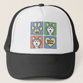 I Liebe-Sibirier-Huskies Truckerkappe