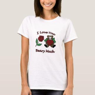 I Liebe Sie Beary viel Teddy mit Herz-Rose T-Shirt