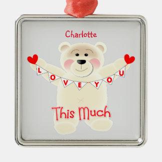 I Liebe Sie dieser viel niedliche Teddy-Bär Silbernes Ornament