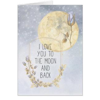 I Liebe Sie goldene Mond-Blau-Rosen Karte