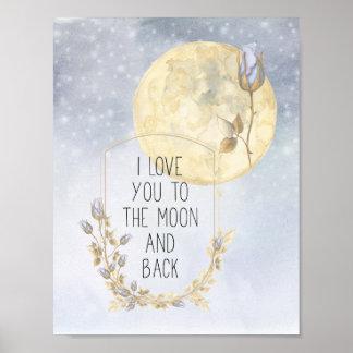 I Liebe Sie goldene Mond-Blau-Rosen Poster