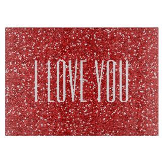 I Liebe Sie Imitat-Glitter oder Ihr eigener Text Schneidebrett