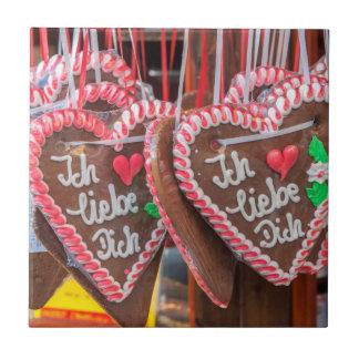 I Liebe Sie Lebkuchen-Herzen am Feiertag Keramikfliese