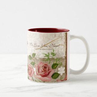 I Liebe Sie Nana, Vintage englische Rosen-Tasse Zweifarbige Tasse
