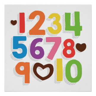 I LOVE YOU (Rainbow Bold) Numbers Poster