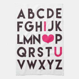 I LIEBE SIE - romantisches Alphabet-Küchen-Tuch Küchentuch