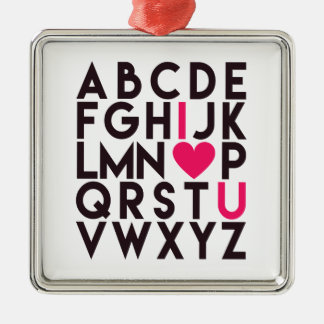 I LIEBE SIE - romantisches Alphabet Silbernes Ornament
