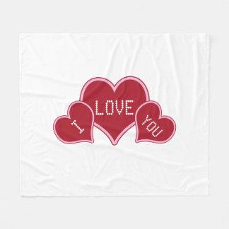 I Liebe Sie rot und weiße Valentine-Herzen Fleecedecke