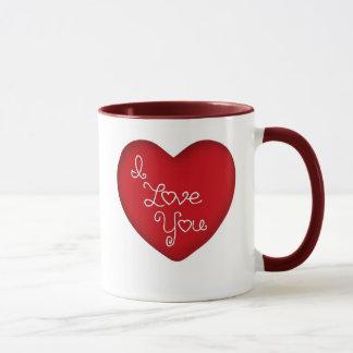 I Liebe Sie rote Herz-Wecker-Kaffee-Tasse 15 Unze Tasse