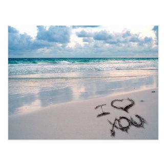 I Liebe Sie, Sand-Schreiben auf dem Strand Postkarte