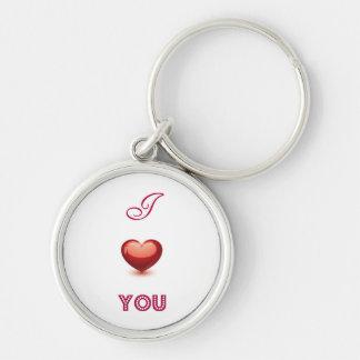I Liebe Sie Silberfarbener Runder Schlüsselanhänger