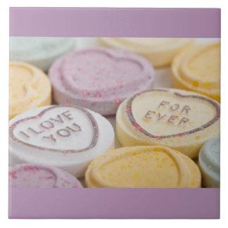 I Liebe Sie süße Süßigkeitvalentine-Herzen Große Quadratische Fliese