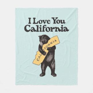 I Liebe Sie, Vintage Illustration Kaliforniens Fleecedecke