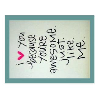I Liebe Sie, weil Sie fantastische Postkarte sind