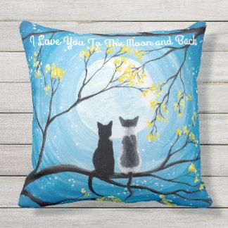I Liebe Sie zum Mond und zur hinteren Katze Kissen