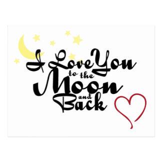 I Liebe Sie zum Mond und zur hinteren Postkarte