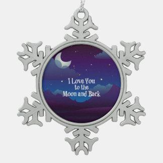 I Liebe Sie zum Mond und zur Rückseite, blaues Schneeflocken Zinn-Ornament