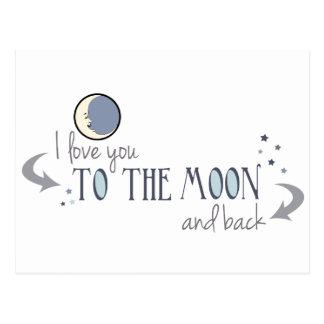 I Liebe Sie zum Mond und zur Rückseite Postkarte