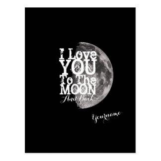 I Liebe Sie zum Mond und zur Rückseite Postkarten