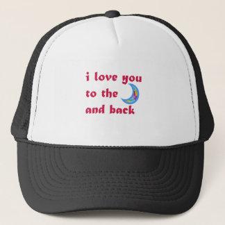 I Liebe Sie zum Mond und zur Rückseite Truckerkappe