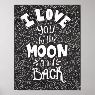 I Liebe Sie zur Mond-und Rückseiten-rustikalen Poster