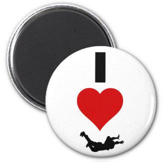 I Liebe Skydiving (vertikal) Runder Magnet 5,1 Cm