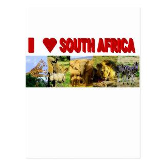 I Liebe Südafrika 5 wilde Tiere Postkarte