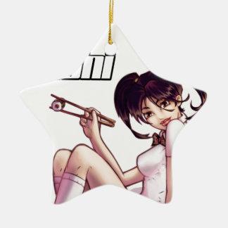 I Liebe-Sushi - Mädchen, das Sushi mit Essstäbchen Keramik Ornament