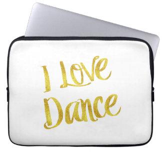 I Liebe-Tanz-GoldImitat-Folien-metallisches Zitat Laptop Sleeve