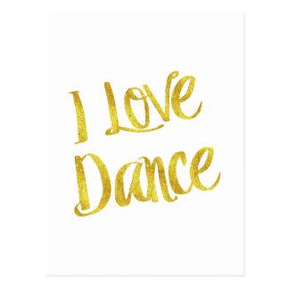 I Liebe-Tanz-GoldImitat-Folien-metallisches Zitat Postkarte