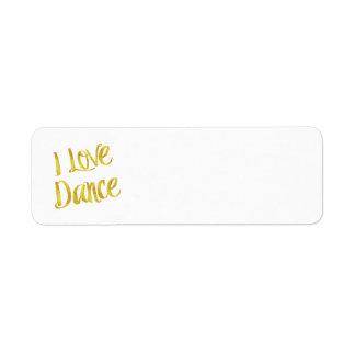 I Liebe-Tanz-GoldImitat-Folien-metallisches Zitat Rückversand-Adressaufkleber