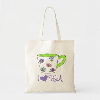 I Liebe-Tee-Blumendruck-Keramikteacup-Tasche Tragetasche