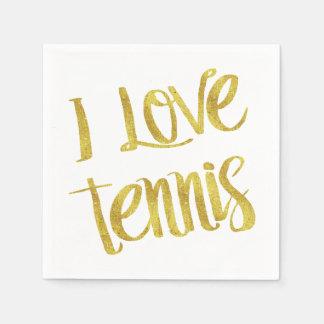 I Liebe-Tennis-GoldImitat-Folien-metallisches Papierserviette