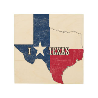 I Liebe Texas Holzleinwand