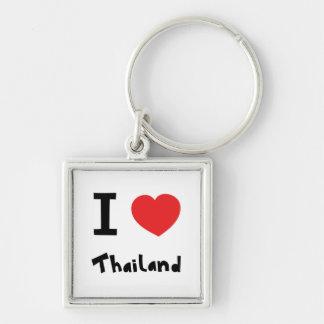 I Liebe Thailand Silberfarbener Quadratischer Schlüsselanhänger