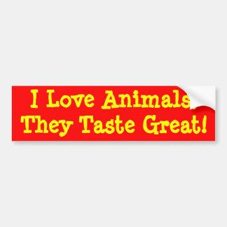 I Liebe-Tiere, schmecken sie groß! Autoaufkleber
