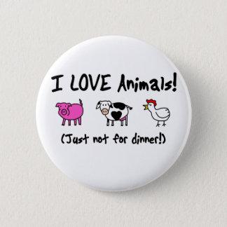 I Liebe-Tiere vegetarisch Runder Button 5,7 Cm