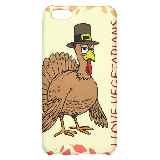 I Liebe-Vegetarier-Erntedank-Cartoon die Türkei Hüllen Für iPhone 5C