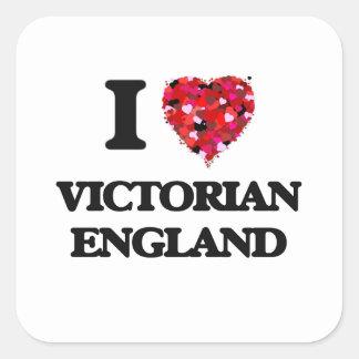 I Liebe viktorianisches England Quadrat-Aufkleber