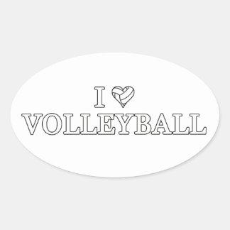 I Liebe-Volleyball Ovaler Aufkleber