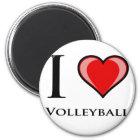 I Liebe-Volleyball Runder Magnet 5,1 Cm