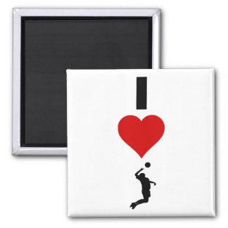 I Liebe-Volleyball-Vertikale (Mann) Quadratischer Magnet