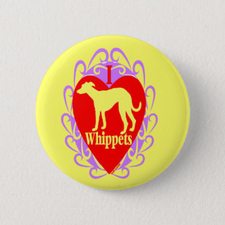 I Liebe Whippets B Runder Button 5,1 Cm