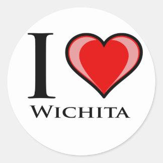 I Liebe Wichita Runder Aufkleber