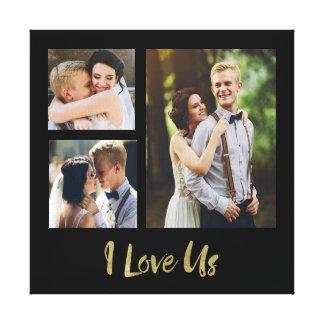 I Liebe wir Goldskript-Hochzeits-Leinwand Gespannter Galeriedruck