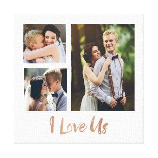 I Liebe wir Rosen-Goldskript-Hochzeits-Leinwand Gespannte Galeriedrucke