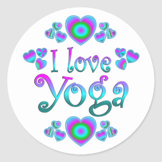 I Liebe-Yoga Runde Aufkleber