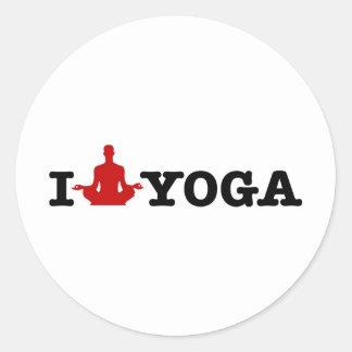 I Liebe-Yoga Runder Aufkleber